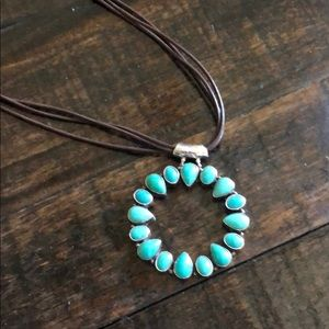 Jewelry - Round Turquoise Pendant on Leather Necklace